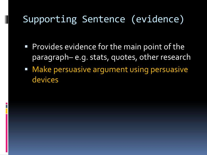 Supporting Sentence (evidence)