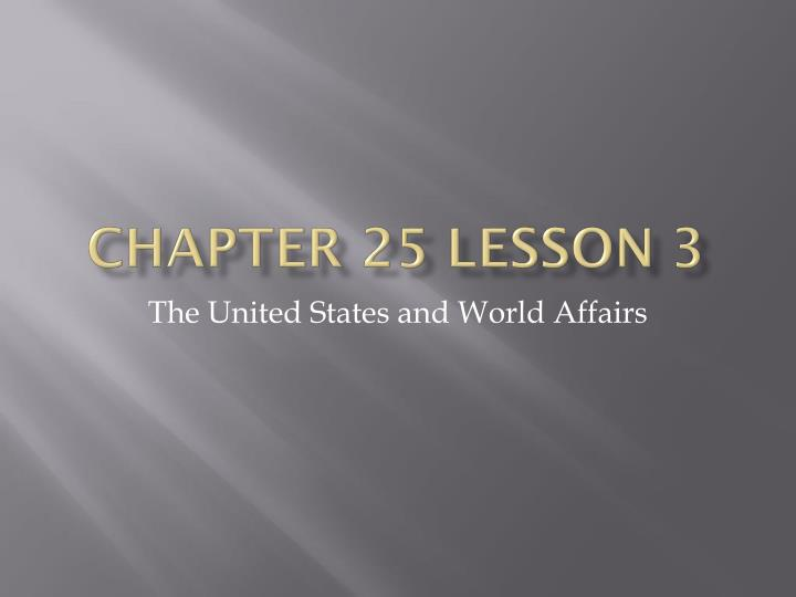 Chapter 25 Lesson 3