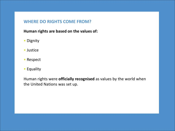 WHERE DO RIGHTS COME FROM?