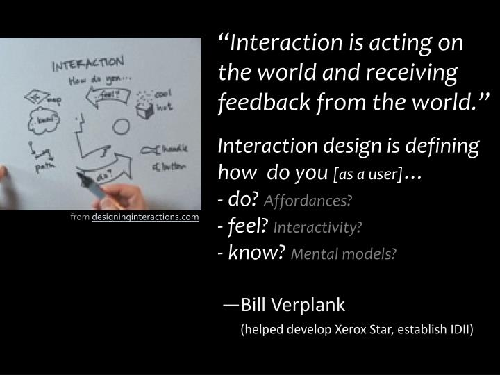 """Interaction is acting on the world and receiving feedback from the world."""