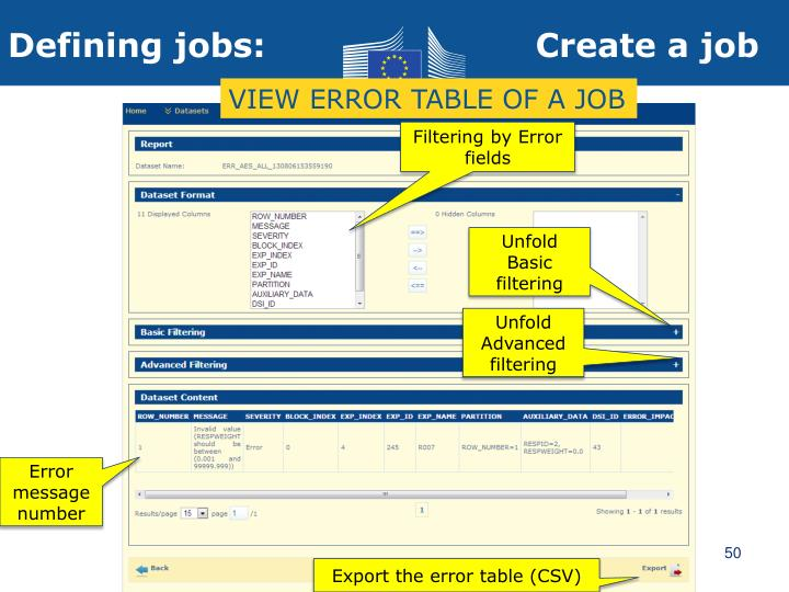 VIEW ERROR TABLE OF A JOB