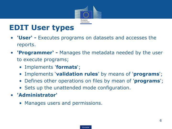 EDIT User types