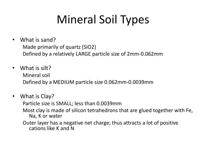 Mineral soil types