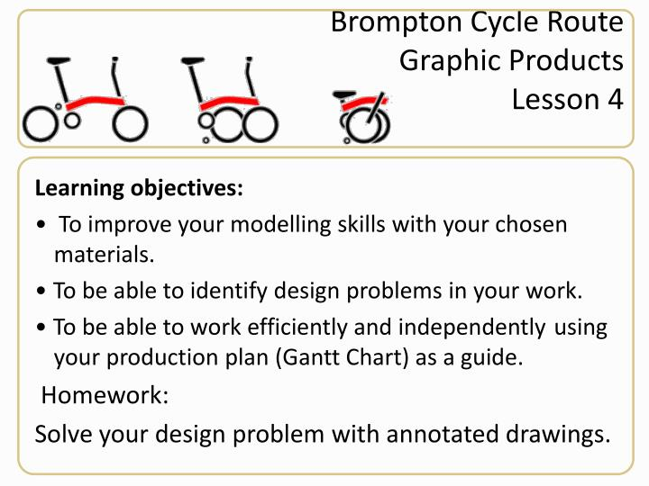 Brompton cycle route graphic products lesson 4