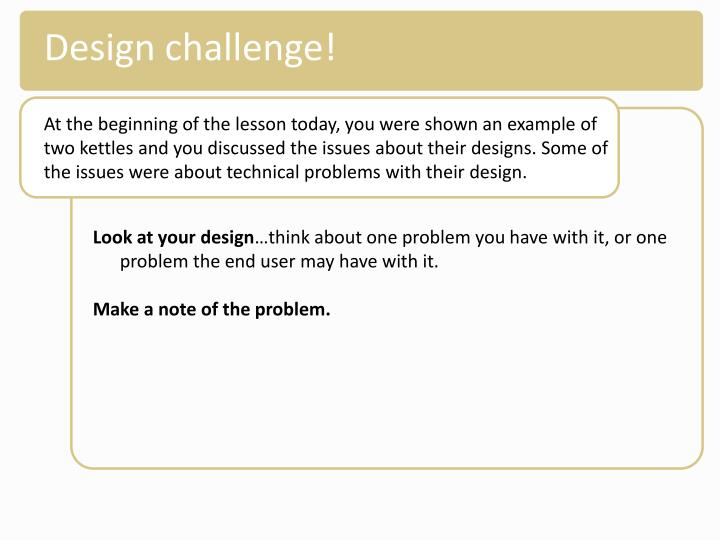 Design challenge!