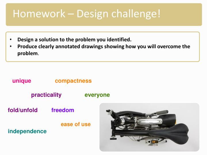 Homework – Design challenge!