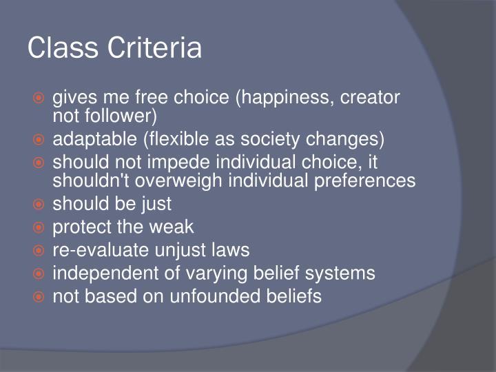 Class Criteria