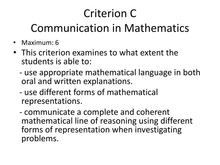 Criterion C