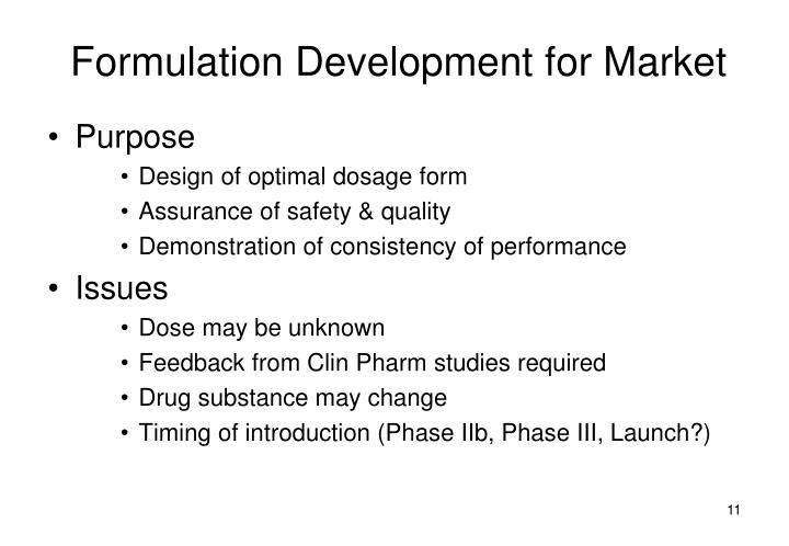 Formulation Development for Market