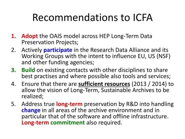 Recommendations to ICFA