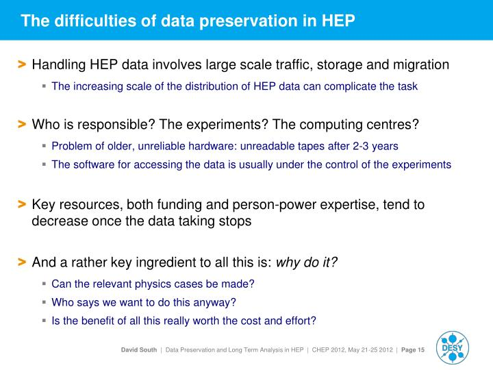 The difficulties of data preservation in HEP