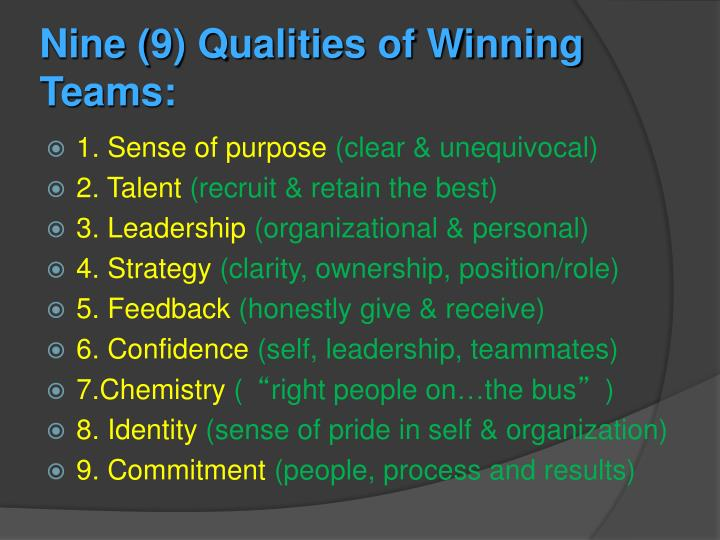 Nine 9 qualities of winning teams