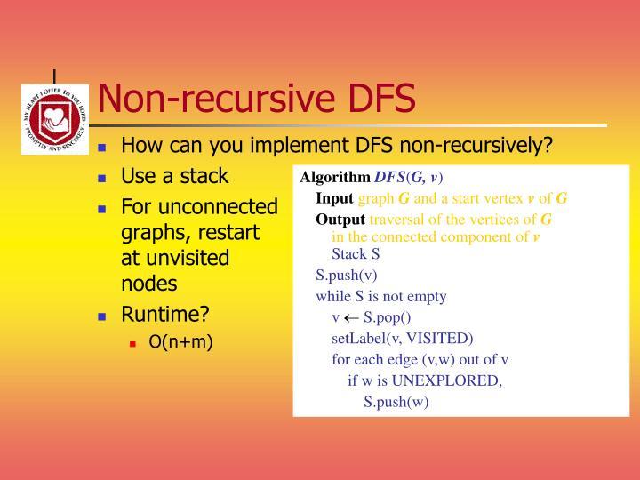 Non-recursive DFS