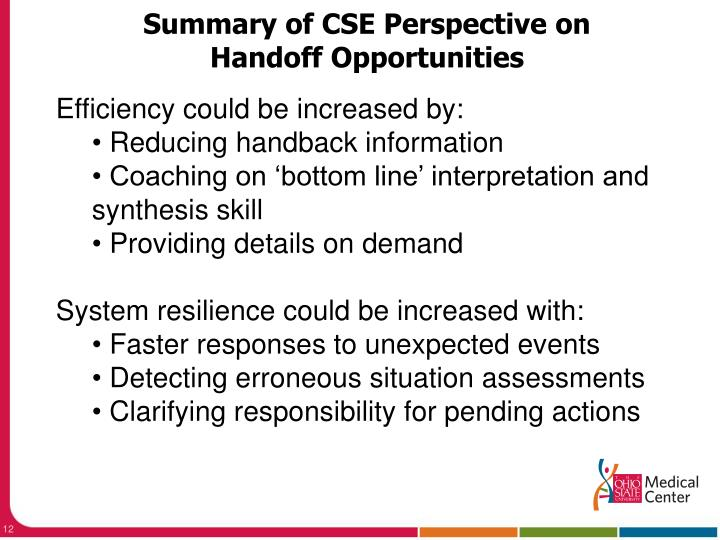 Summary of CSE Perspective on