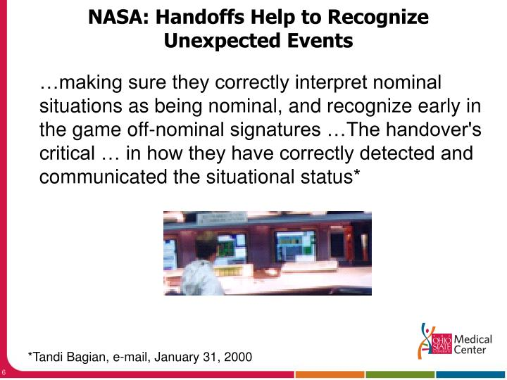NASA: Handoffs Help to Recognize Unexpected Events