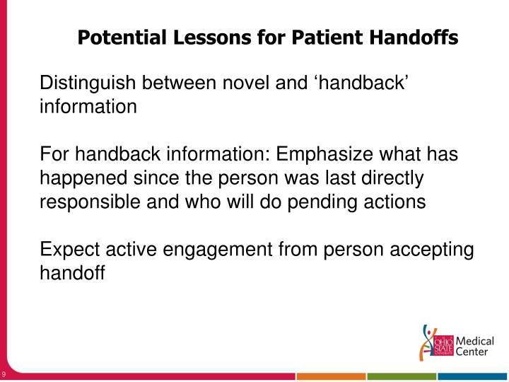 Potential Lessons for Patient Handoffs