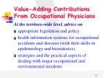 value adding contributions from occupational physicians
