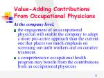 value adding contributions from occupational physicians1