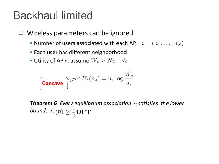 Backhaul limited