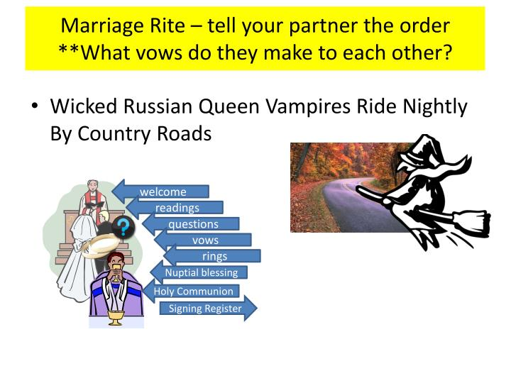 Marriage Rite – tell your partner the