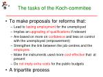 the tasks of the koch commitee