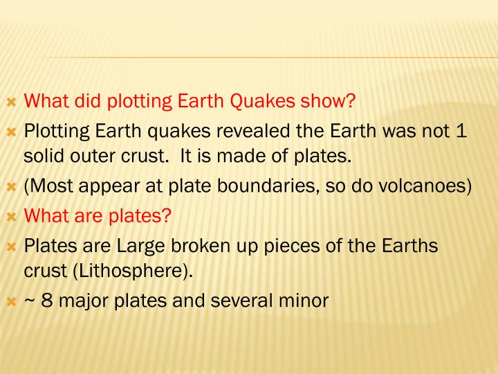 What did plotting Earth Quakes show?