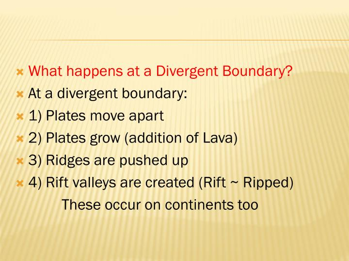 What happens at a Divergent Boundary?