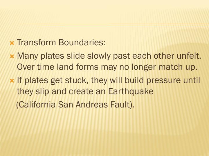 Transform Boundaries: