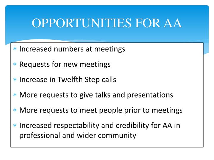 OPPORTUNITIES FOR AA