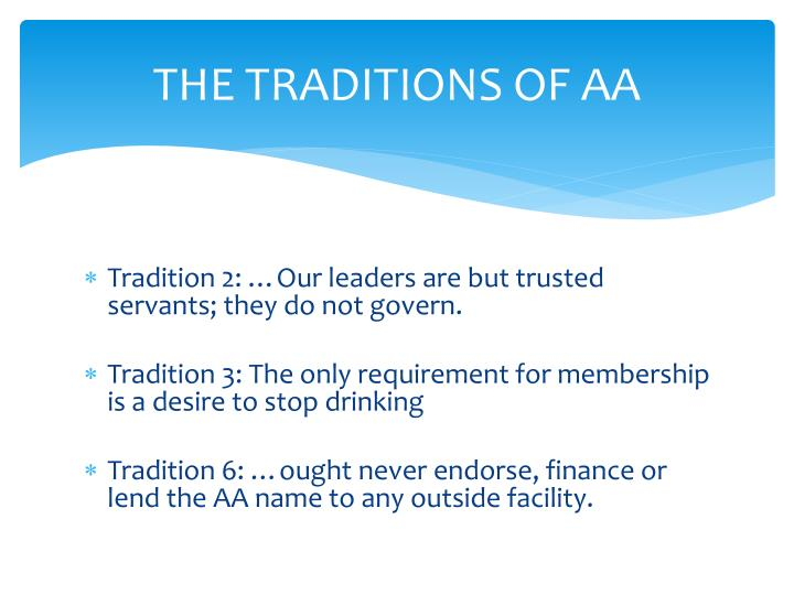 THE TRADITIONS OF AA