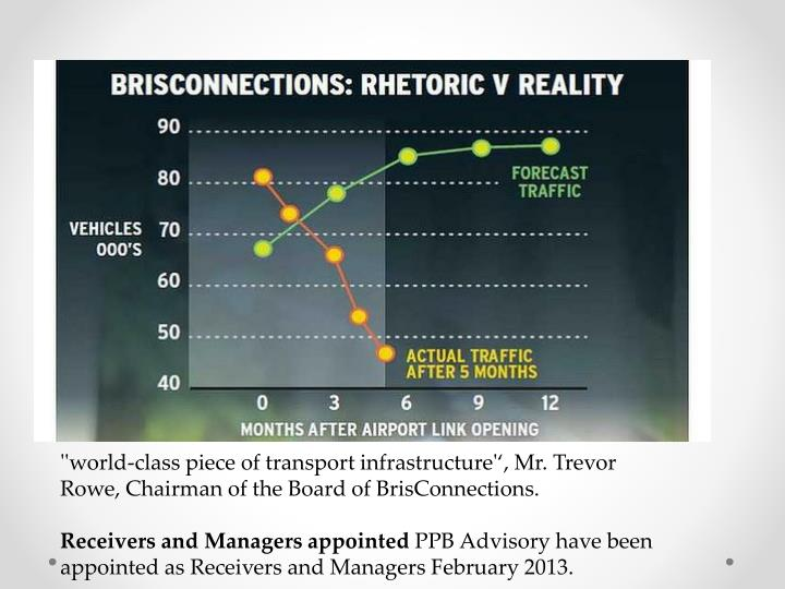 ''world-class piece of transport infrastructure'', Mr. Trevor Rowe, Chairman of the Board of BrisConnections.