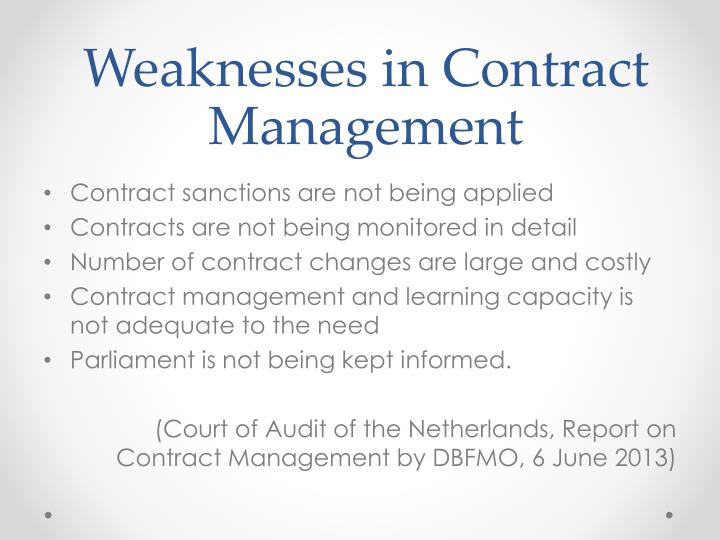 Weaknesses in Contract Management