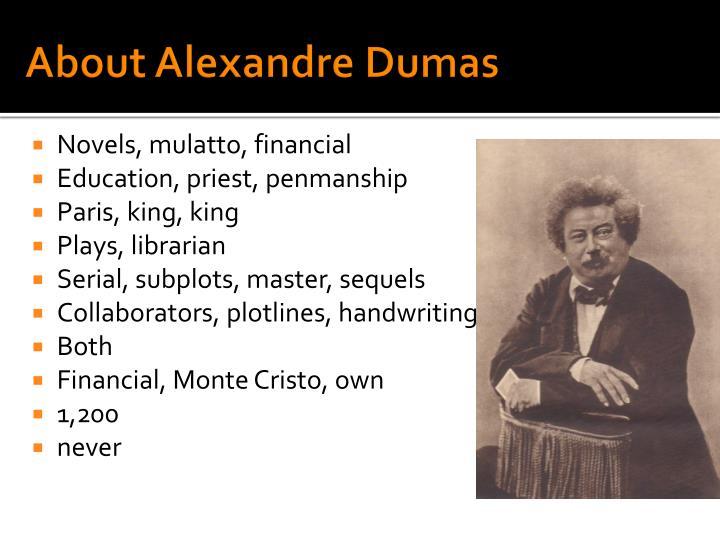 About Alexandre Dumas