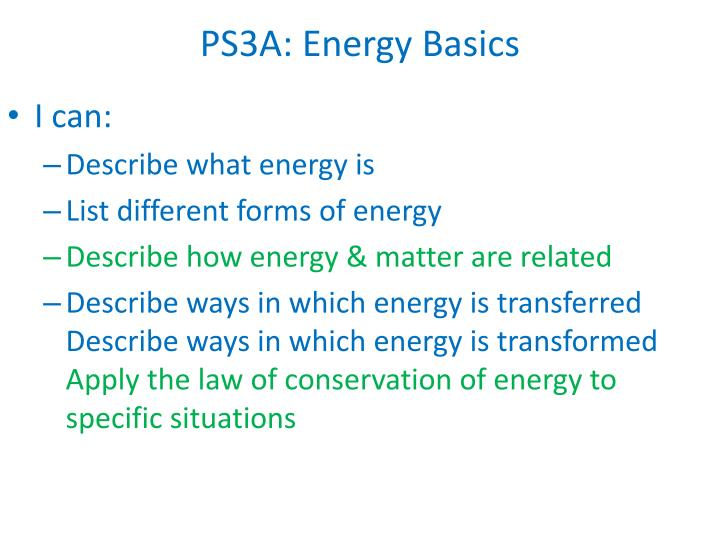 Ps3a energy basics