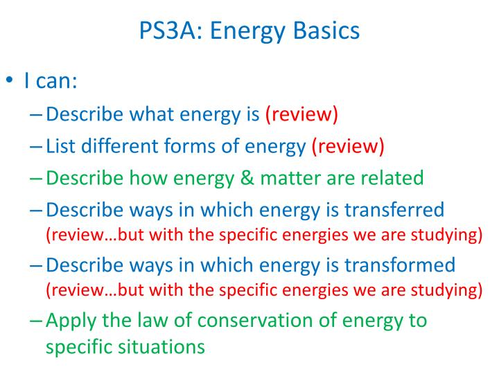 PS3A: Energy Basics