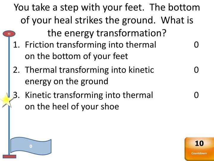 You take a step with your feet.  The bottom of your heal strikes the ground.  What is the energy transformation?
