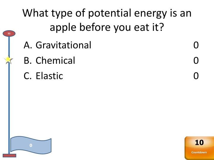 What type of potential energy is an apple before you eat it?