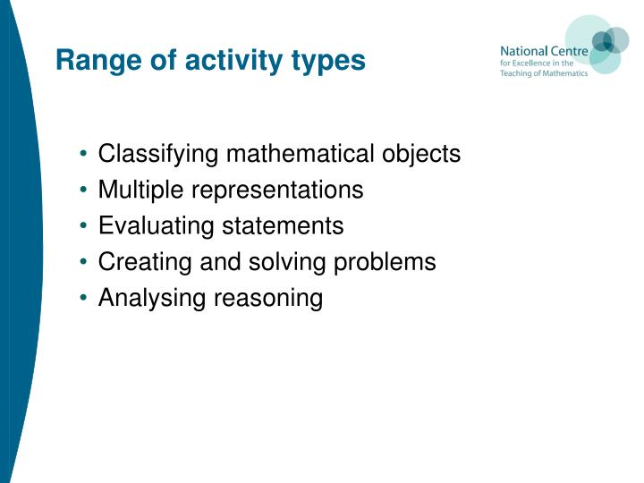 Range of activity types