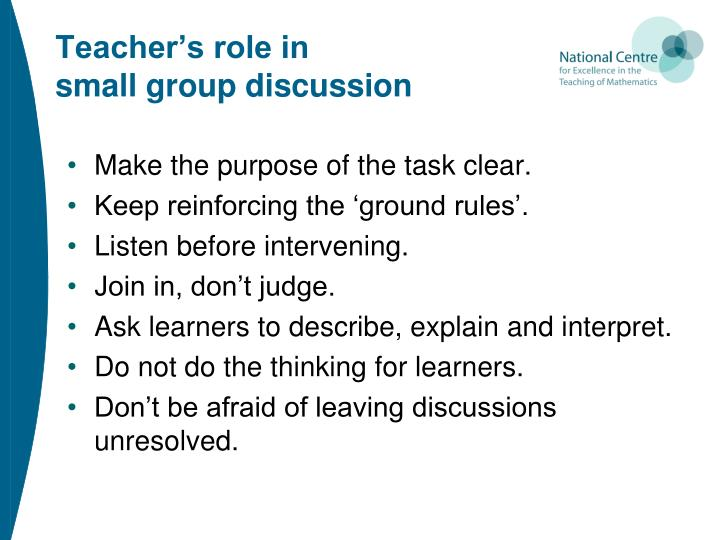 Teacher's role in