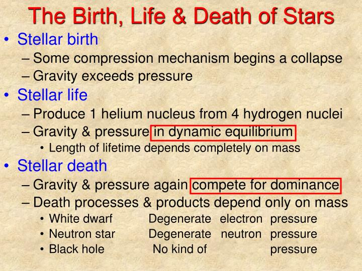 the process of birth and life of stars A star's life cycle: star's process occurs soon after star birth and remains active possibly for a million years this computer animation shows one theoretical.