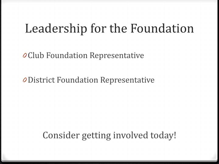 Leadership for the Foundation