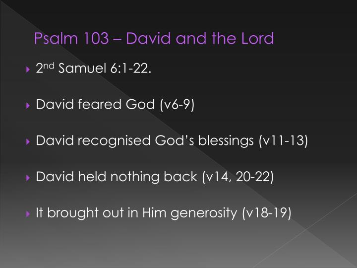 Psalm 103 david and the lord