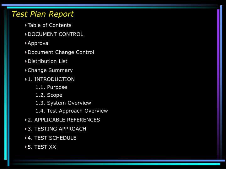 Test Plan Report
