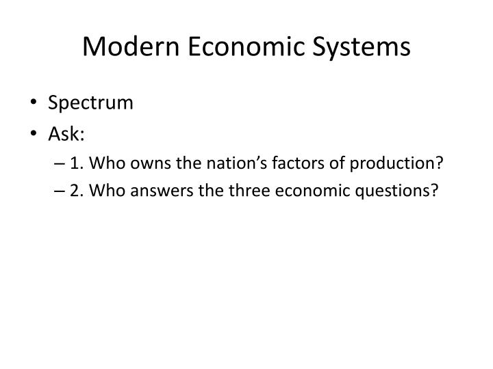 Modern Economic Systems