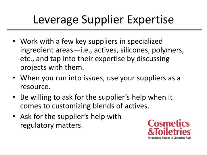 Leverage Supplier Expertise