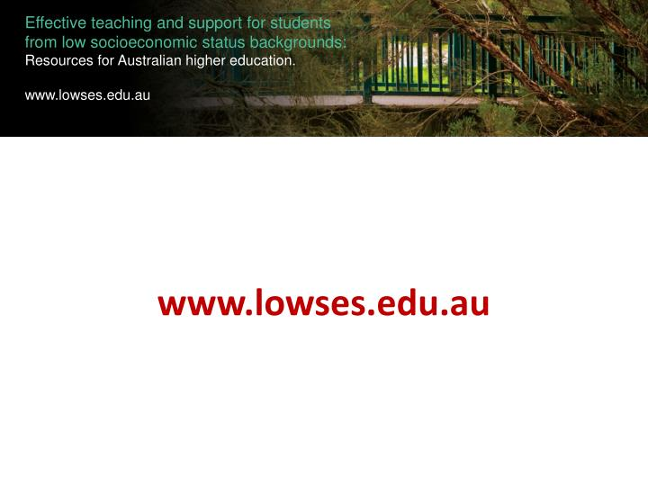 Effective teaching and support for students from low socioeconomic status