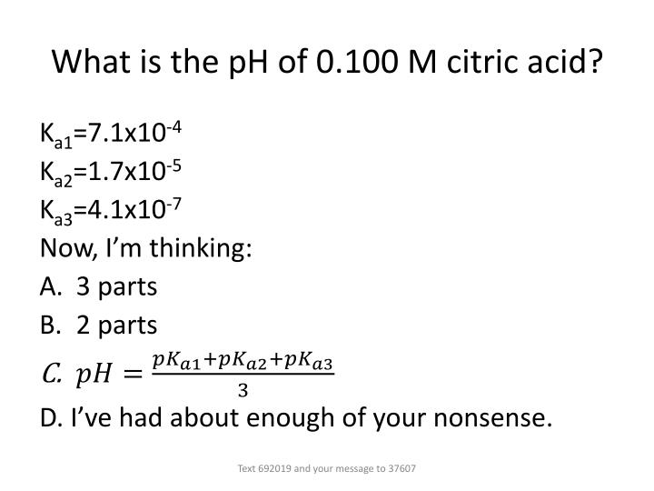 What is the pH of 0.100 M citric acid?