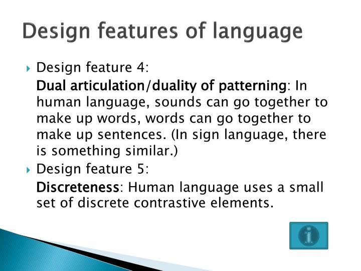 Design features of language
