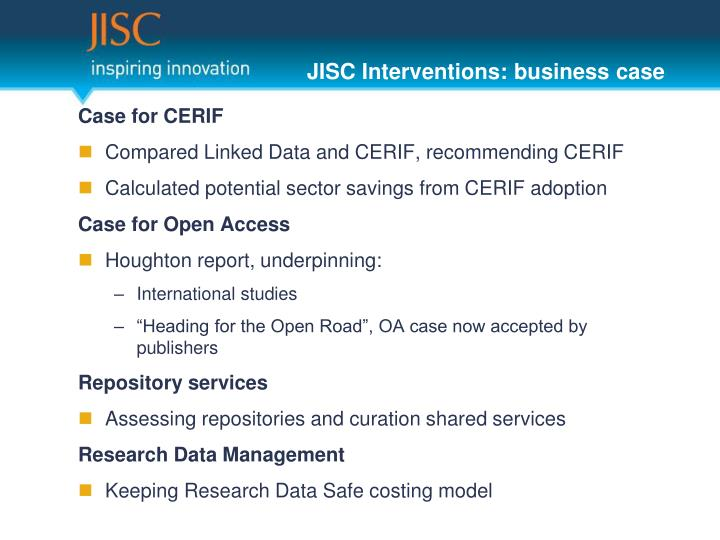 JISC Interventions: business case
