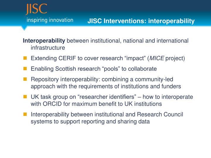 JISC Interventions: interoperability
